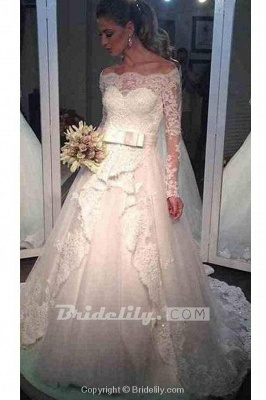 Chicloth Elegant Tulle Lace Off-the-shoulder Long Sleeve Wedding Dress_2