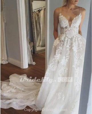 Chicloth Stunning Appliques Lace Spaghetti Straps Wedding Dress_3