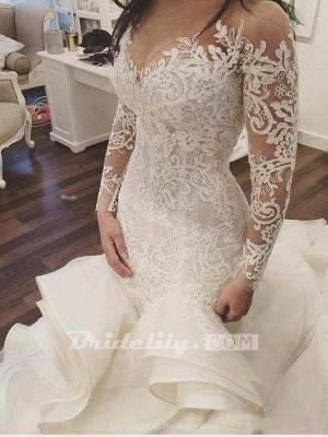 Chicloth Gorgeous Long Sleeve Ivory Appliques Ruffles Wedding Gowns_2