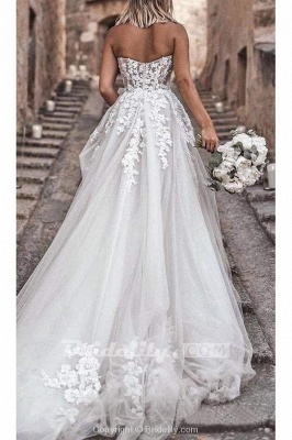 Chicloth Boho Sweetheart Tulle Long Beach Charming Appliques Wedding Dress_6