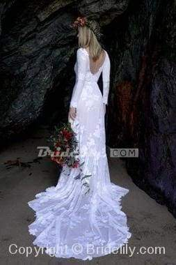 Chicloth Ivory Long Sleeve Rustic Backless Sheath Beach Wedding Dress_5