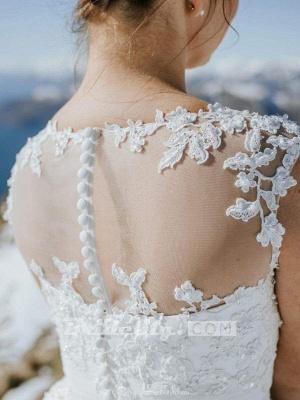 Chicloth Illusion Lace Short Wedding Dresses Tea Length Wedding Dresses_3