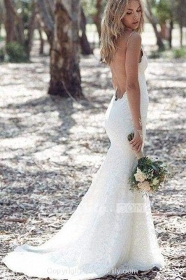 Chicloth Spaghetti Strap Lace Beach Backless V Neck Sweep Train Long Wedding Dress_2