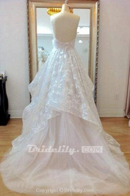 Chicloth A-line Sweetheart Lace Appliqued Court Train Wedding Dress_4