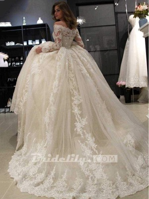 Chicloth Gorgeous Long Sleeves Lace Ball Gown Wedding Dresses_2