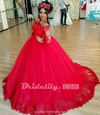 Chicloth Red Long Sleeve Off-the-shoulder Lace Wedding Dress Ball Gown Quinceanera Dresses_3