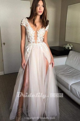 Chicloth Cap Sleeve Deep V-neck With Appliques Sexy Split Tulle Wedding Dress_3