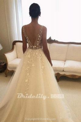 Chicloth Romantic V Neck Beach with Lace Appliques A Line Wedding Dress_2
