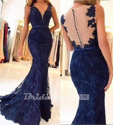 Chicloth Navy Blue Sleeveless Formal Dresses Mermaid Sheer Back Lace Prom Gown_2