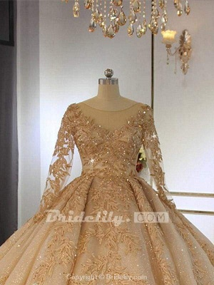Chicloth Long Sleeves O-Neck Ball Gown Wedding Dresses with Long Train_2