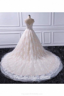 Chicloth Gorgeous Sheer Neck Cap Sleeves Lace Appliques A Line Wedding Dress_2