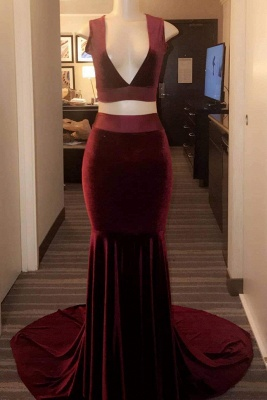 Chicloth Dark Red Two Piece Sleeveless Long Evening Party Gown_1