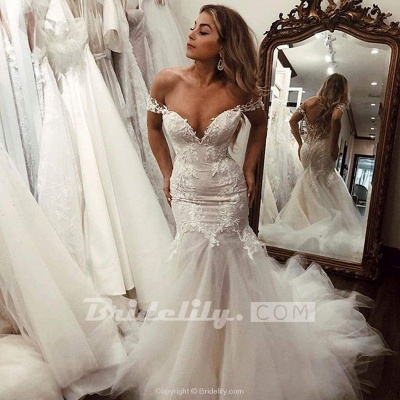 Chicloth Off the Shoulder Mermaid Lace Long Tulle Wedding Dress_3