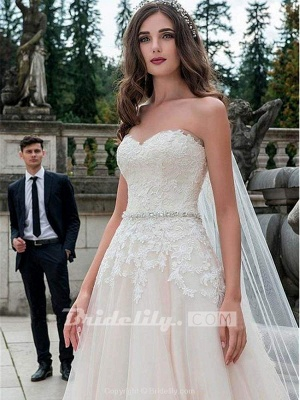 Chicloth Glamorous Sweetheart Tulle A-Line Lace Wedding Dresses_2