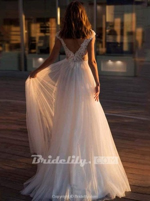 Chicloth Gorgeous Cap Sleeves Appliques Tulle Wedding Dresses_2