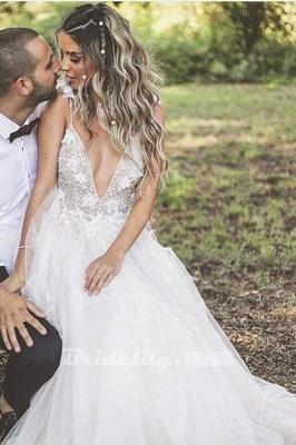 Chicloth Deep V-neck Beading Straps Tulle Appliques A-line Custom Beach Wedding Dress_8
