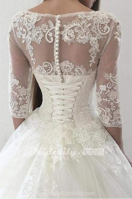 Chicloth Ivory Puffy Half Sleeves Long Vintage Tulle Bateau Appliques Wedding Dress_4