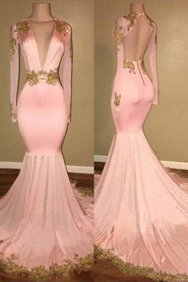 Chicloth Mermaid V-neck Brush Train Long Sleeves Applique Prom Dresses Backless Senior Dress