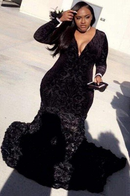 Chicloth Plus Size Prom Dresses Mermaid Black Lace Plunging V Neck Long Sleeve Evening Gowns With 3D Flowers_1