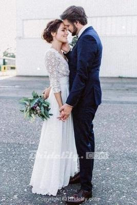 Chicloth Floor Length Chiffon Beach Lace Backless Wedding Dress_3