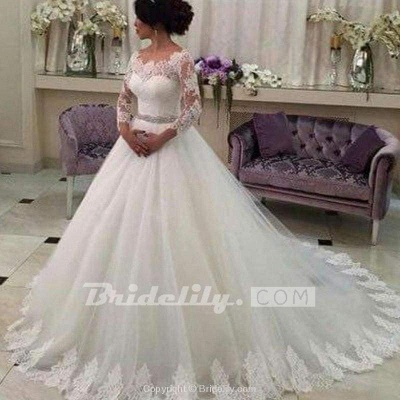 Chicloth Long Sleeves Ball Gowns Lace CustomizedTulle Wedding Dress_2