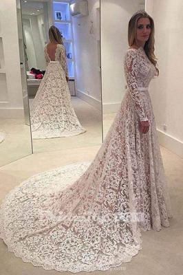 Chicloth Elegant Ivory A-line Bateau Lace Long Sleeve Backless Wedding Dress_2
