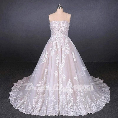 Chicloth Puffy Strapless Tulle with Appliques Long Train Lace Up Wedding Dress_3