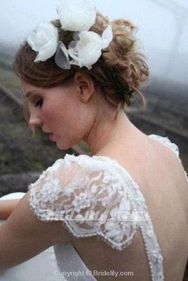 Chicloth Romantic V Neck Cap Sleeves Chiffon Beach Wedding Dress_3