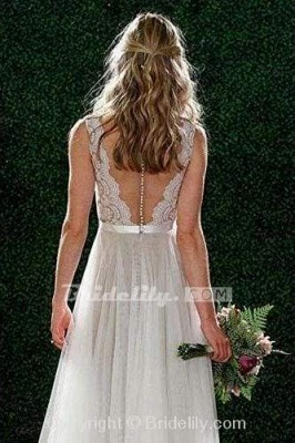 Chicloth A Line Floor Length V Neck Sleeveless Tulle Beach Wedding Dress with Lace_2