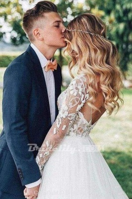 Chicloth Chic A-line Long Sleeve Lace Backless Country Wedding Dress_7
