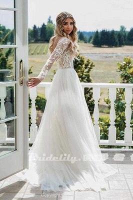Chicloth Chic A-line Long Sleeve Lace Backless Country Wedding Dress_6