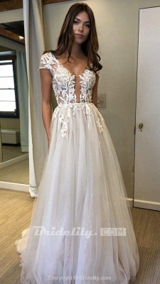 Chicloth Cap Sleeve Deep V-neck With Appliques Sexy Split Tulle Wedding Dress_4