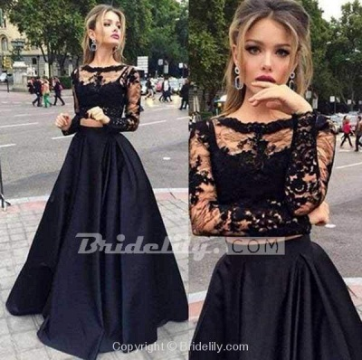 Chicloth Two Pieces Long Sleeves Lace Top And Satin Prom Dress Party Dresses_2