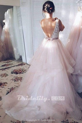 Chicloth Light Pink V-neck Sleeveless Sweep Train Lace Top Tulle Wedding Dress_3
