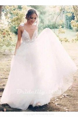 Chicloth Deep V-neck Beading Straps Tulle Appliques A-line Custom Beach Wedding Dress_6