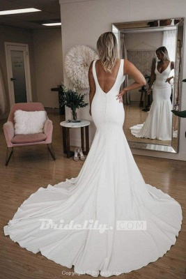 Chicloth Simple V Neck Mermaid with Long Train Sexy Backless Beach Wedding Dress_2