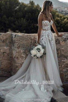 Chicloth Boho Sweetheart Tulle Long Beach Charming Appliques Wedding Dress_3