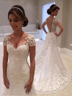 Chicloth Affordable V-Neck Short Sleeves Lace Mermaid Wedding Dresses_1
