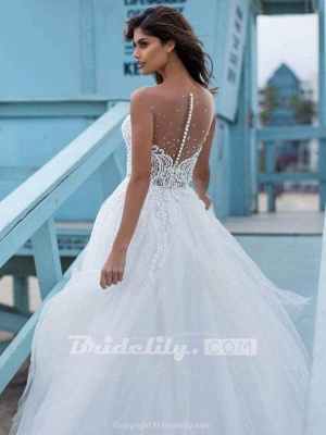 Chicloth Elegant Lace Covered Button Ball Gown Wedding Dresses_3
