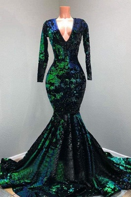 Chicloth Sparkly Sequin Long Sleeve V-neck Mermaid Prom Dresses_1