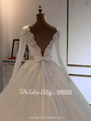 Chicloth Exquisite Bowknot Ball Gown Wedding Dresses with Long Sleeves_2