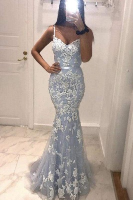 Chicloth Sexy Spaghetti Straps Mermaid Prom Dress with Lace Appliques_1