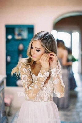 Chicloth Chic A-line Long Sleeve Lace Backless Country Wedding Dress_5