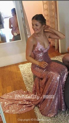 Chicloth Gorgeous Rose Gold Spaghetti Straps V-neck Mermaid Sequins Sweep Train Prom Dress_3