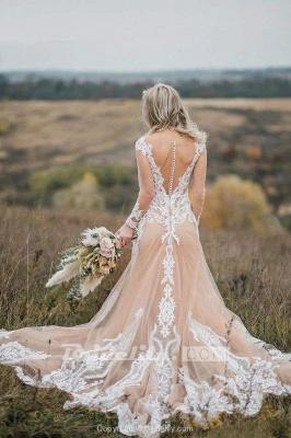 Chicloth Amazing Long Sleeves Boho Lace Appliques Wedding Dress_2