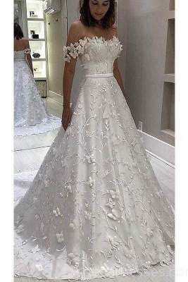 Chicloth Gorgeous Off the Shoulder Lace White Long Wedding Dress_1