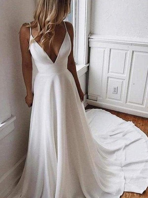 Chicloth Simple V Neck Chiffon A Line Covered Button Boho Wedding Dresses_1