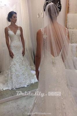 Chicloth Ivory V Neck Sheath Sleeveless Backless Charming Lace Wedding Dress_2