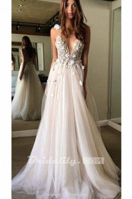 Chicloth Deep V-neck Beading Straps Tulle Appliques A-line Custom Beach Wedding Dress_10