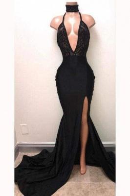 Chicloth Sexy Black Straps Deep V-neck Mermaid Split Sleeveless Evening Dress with Lace_1
